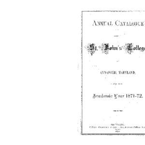 Annual Catalogue of St. John's College, at Annapolis, Maryland, for the Academic Year 1871-72.