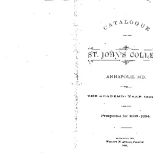 Catalogue of St. John's College Annapolis, MD. for the Academic Year 1882-1883 and Prospectus for 1883-1884.