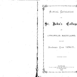 Annual Catalogue of St. John's College, at Annapolis, Maryland, for the Academic Year 1870-71