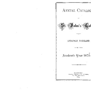 Annual Catalogue of St. John's College, at Annapolis, Maryland, for the Academic Year 187[2]-7[3].