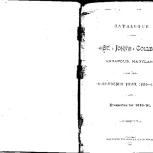Catalogue of St. John's College, Annapolis, Maryland, for the Academic Year 1889----1890.  And Prospectus for 1890-'91.