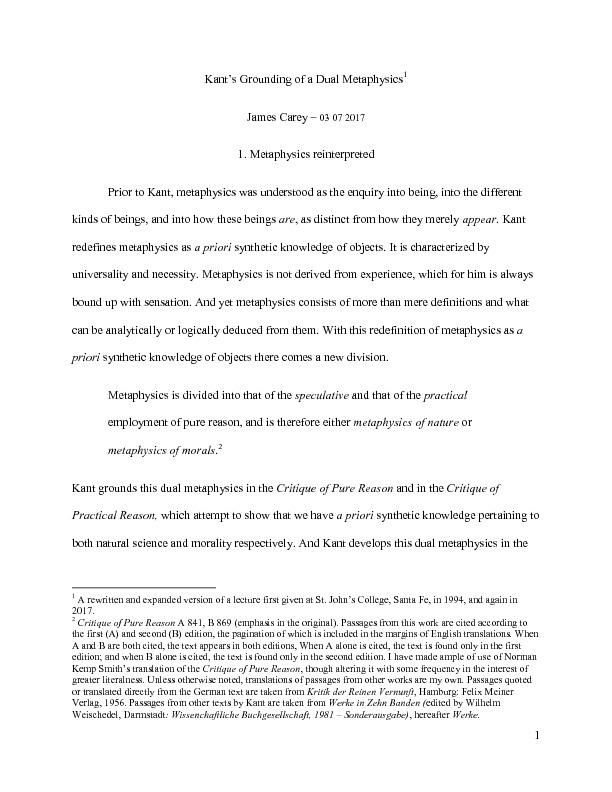 Carey, J. Kant's Grounding of a Dual Metaphysics.pdf