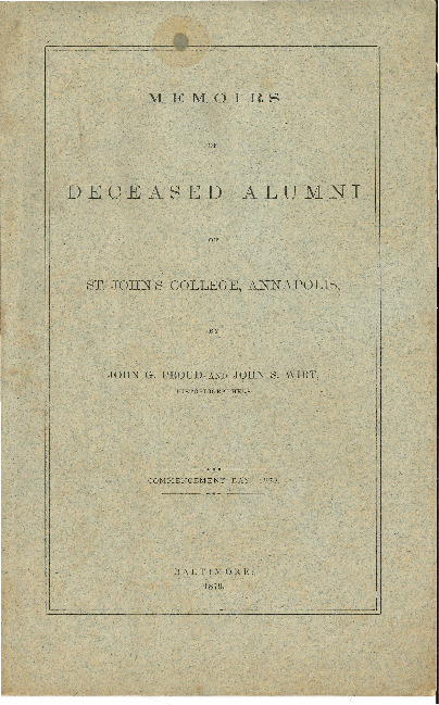 Commencement Address-Memoirs of Deceased Alumni -John G. Proud and John S. Wirt. Proud and John S. Wirt.pdf
