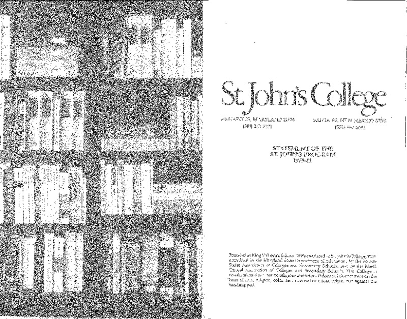 Statement of the St. John's Program 1979-81