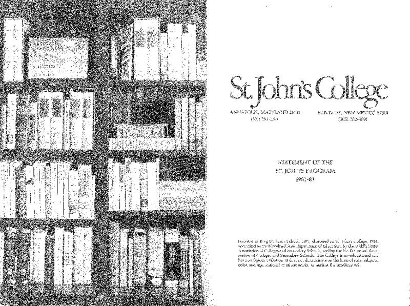 Statement of the St. John's Program 1982-83