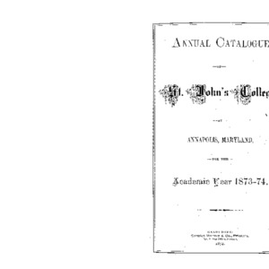Annual Catalogue of St. John's College, at Annapolis, Maryland, for the Academic Year 1873-74.