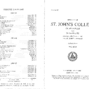 Bulletin of St. John's College in Annapolis and Santa Fe: Official Statement of the St. John's Program, Catalogue 1962-1964