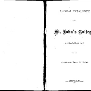 Annual Catalogue of St. John's College, Annapolis, MD.  For the Academic Year 1879-80.