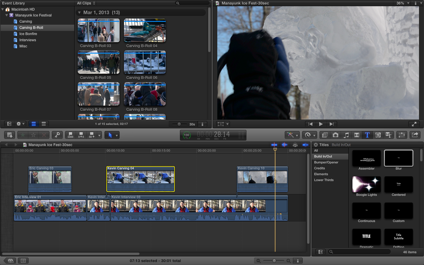 Manayunk Ice Festival - 30 Sec Rough Cut - image 1 - student project