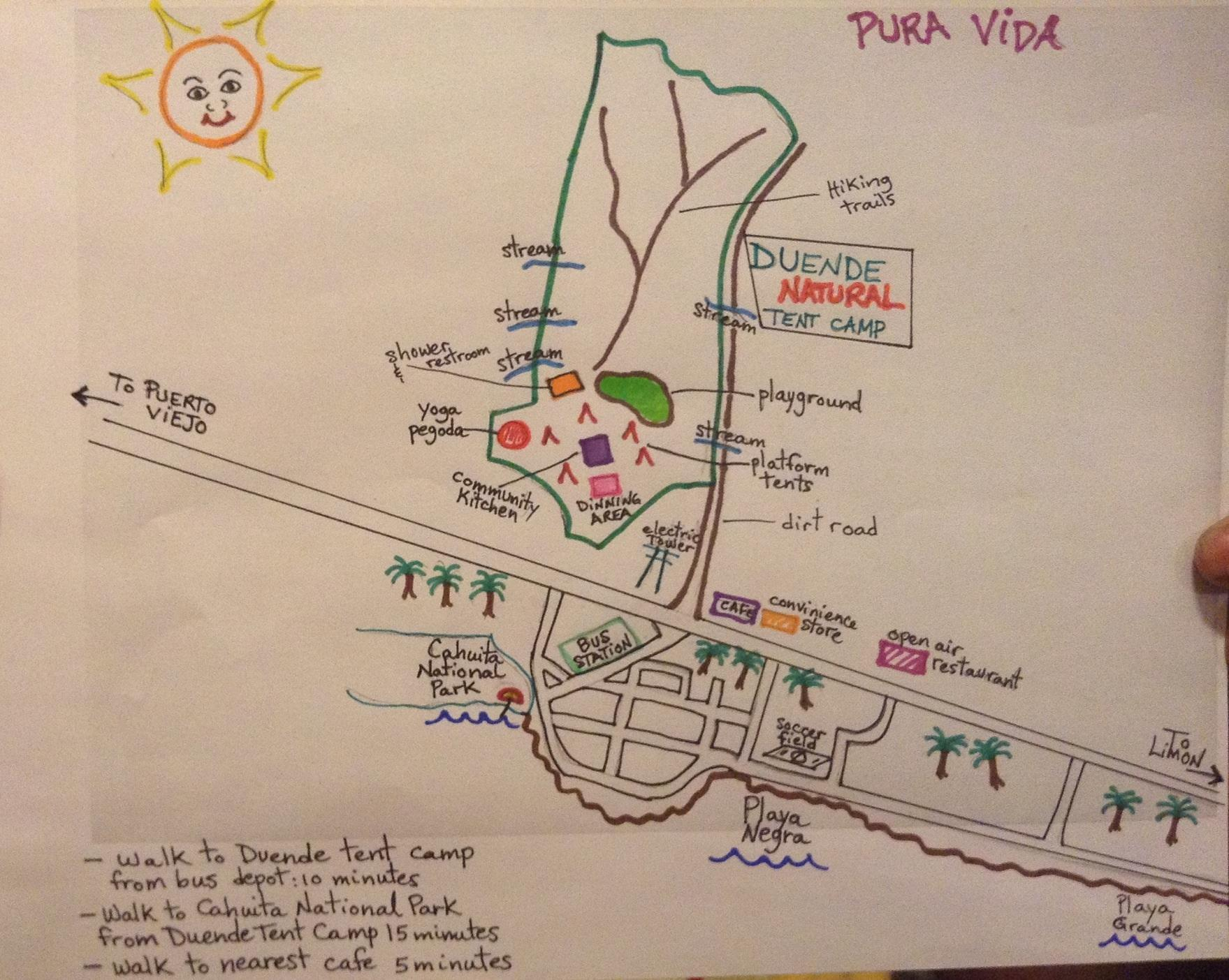 Duende Natural Tent Camp, Site Map & Town of Cahuita, Costa Rica - image 3 - student project