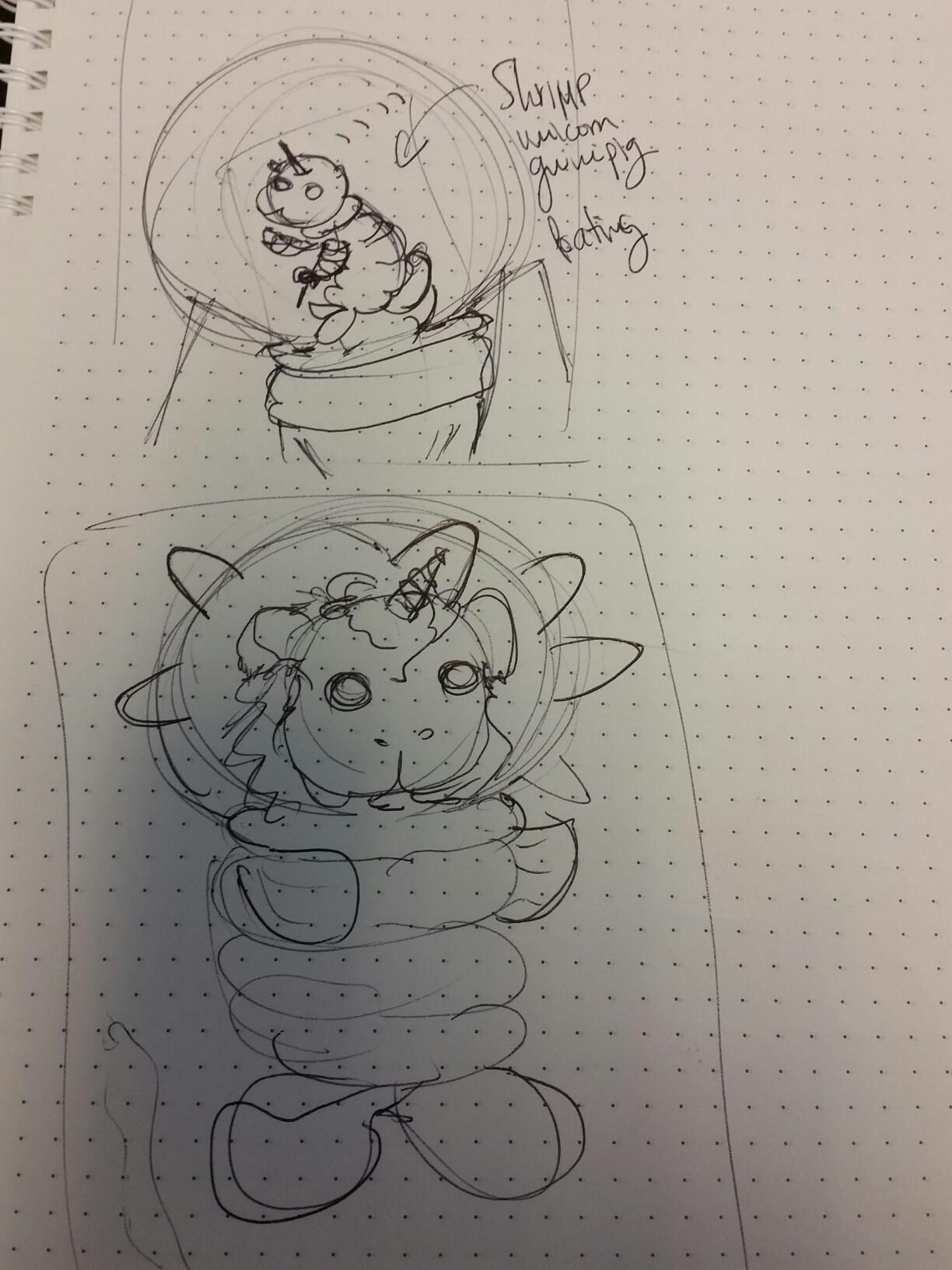Guinipig with unicorn horn in shrimp space suit - image 2 - student project