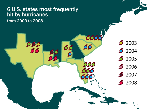 States most frequently hit by hurricanes - image 1 - student project