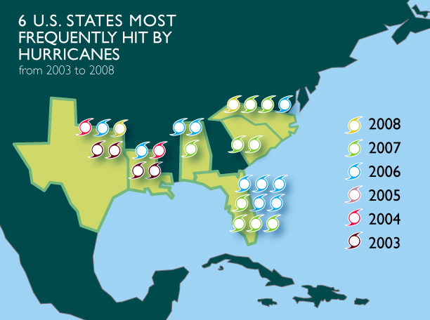 States most frequently hit by hurricanes - image 2 - student project