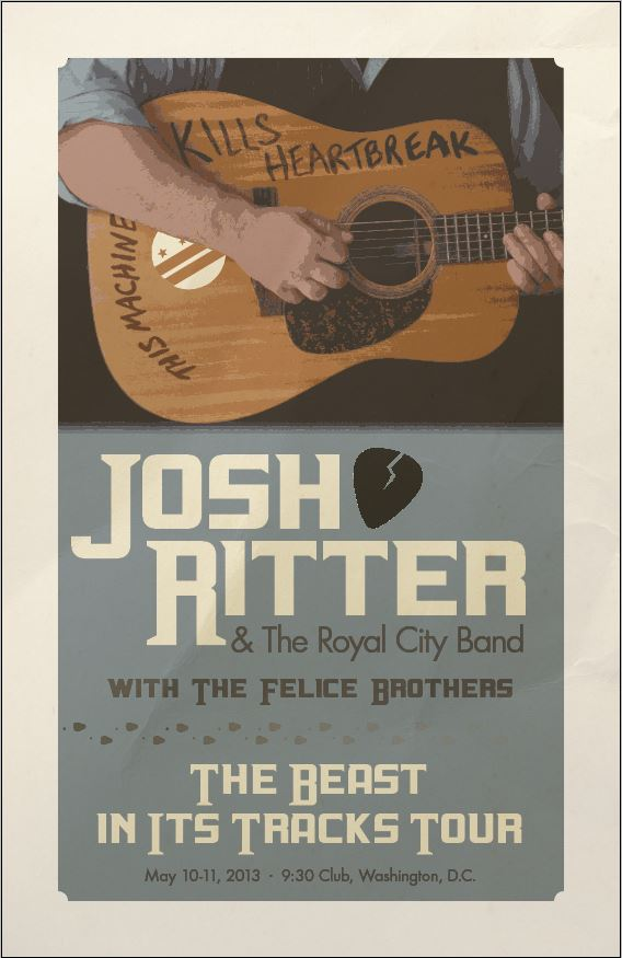 Completed - Josh Ritter Gig Poster @ 9:30 Club - image 1 - student project