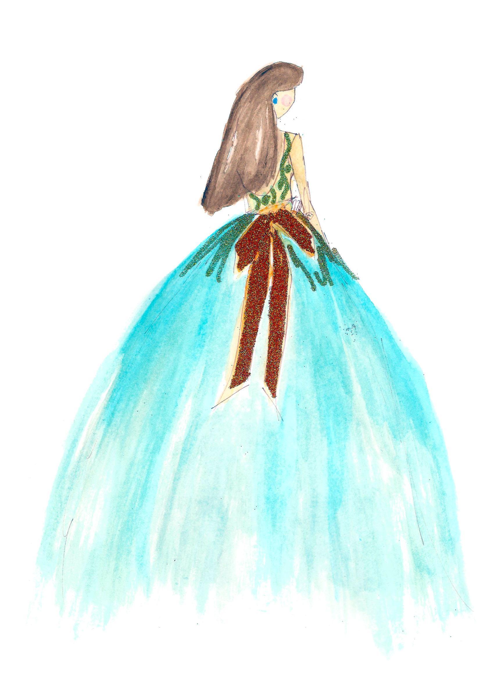 FINAL embellishment/watercolor Melissa Nadine fashion illustration - image 4 - student project