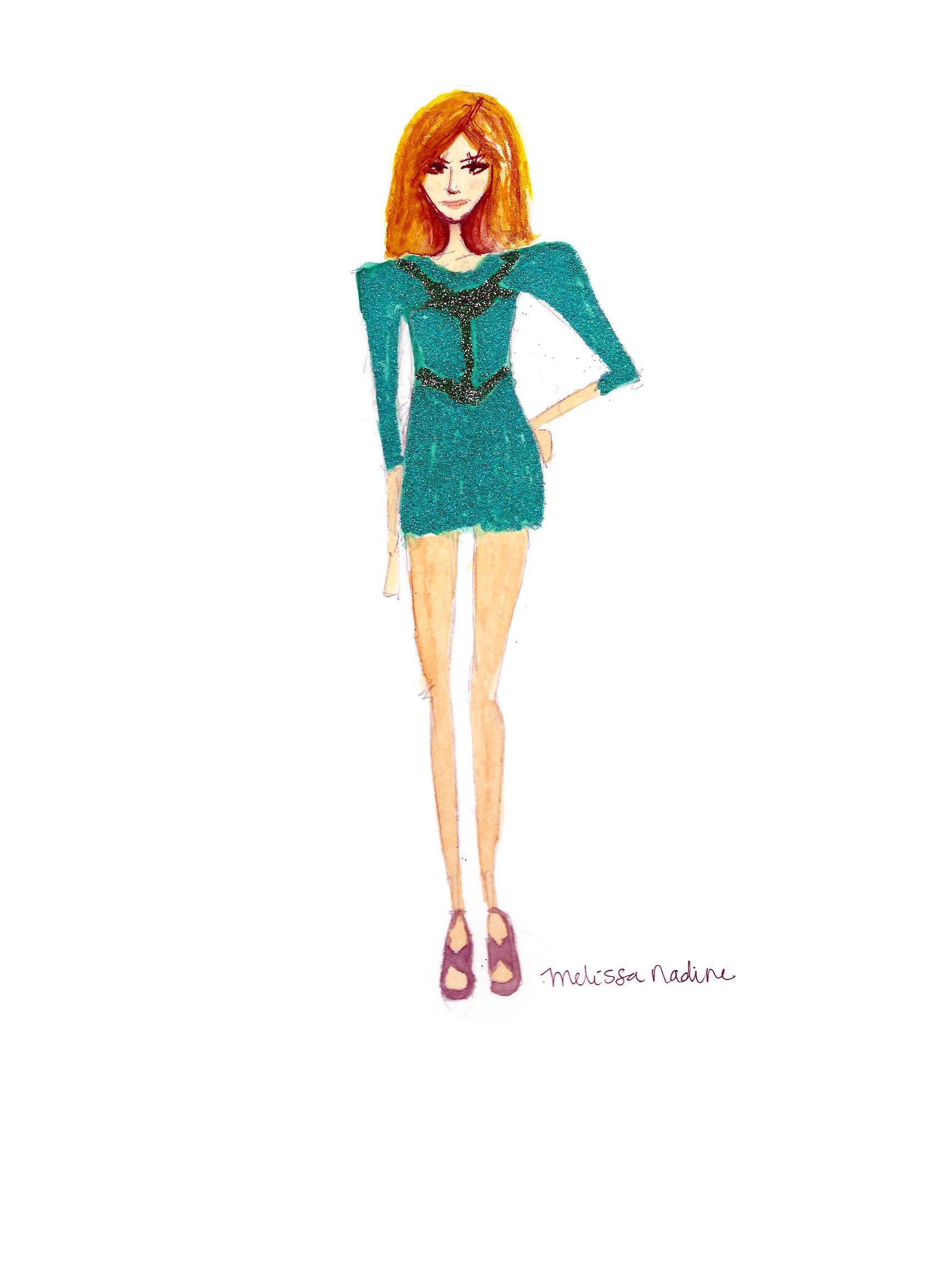 FINAL embellishment/watercolor Melissa Nadine fashion illustration - image 10 - student project