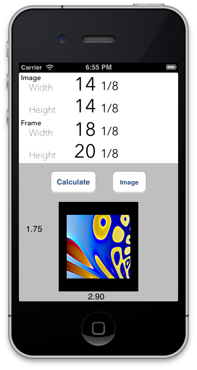 Mat Border Calculator for iPhone - image 5 - student project