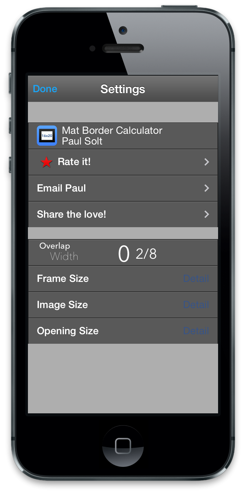 Mat Border Calculator for iPhone - image 4 - student project