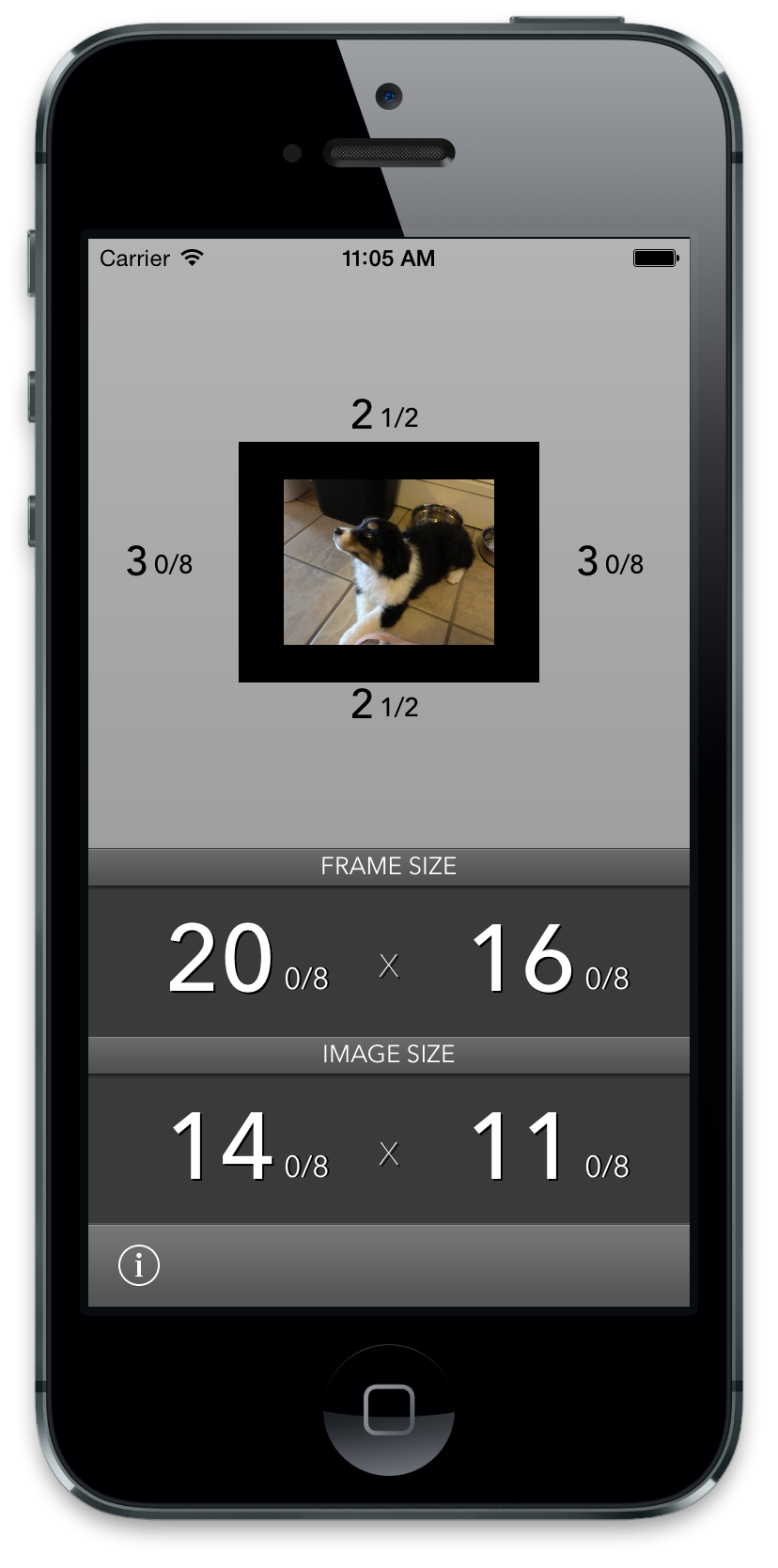 Mat Border Calculator for iPhone - image 2 - student project