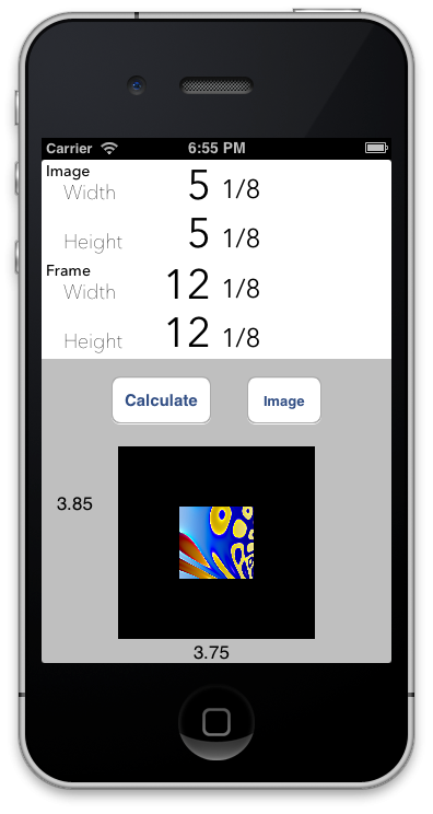 Mat Border Calculator for iPhone - image 6 - student project