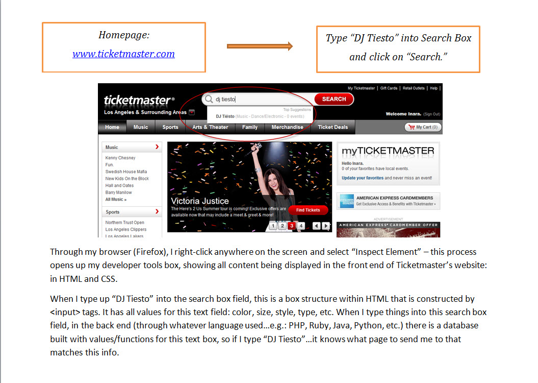 Purchasing a Ticket through Ticketmaster.com  - image 2 - student project
