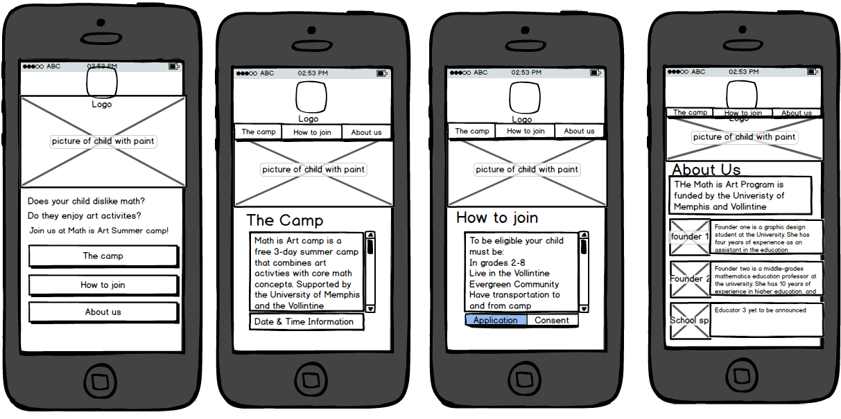 Math & Art Camp website - image 4 - student project