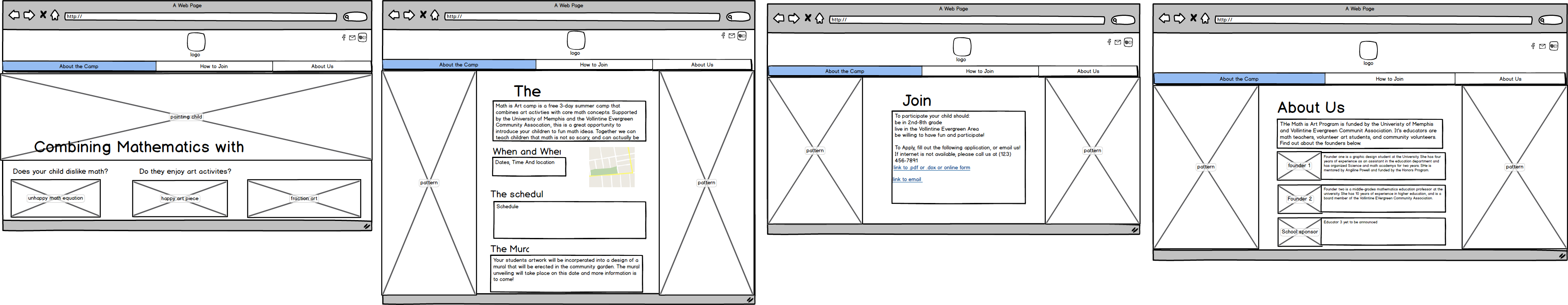 Math & Art Camp website - image 5 - student project