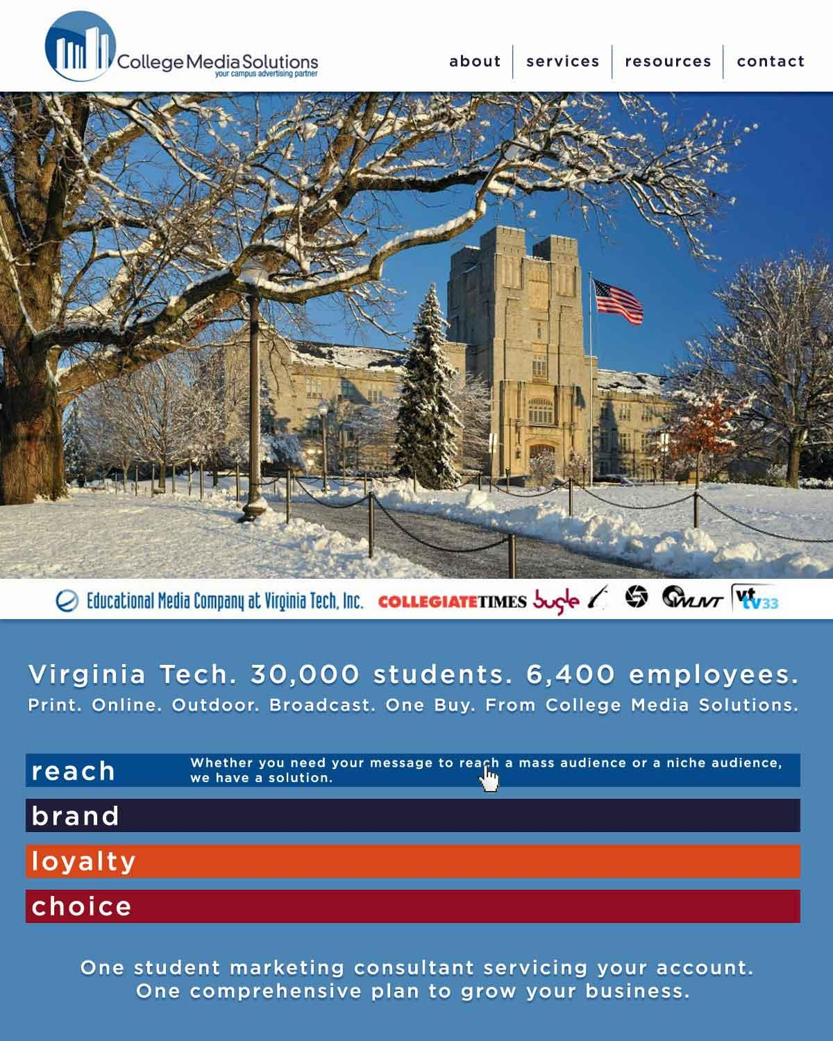 College Media Solutions Redesign - image 1 - student project