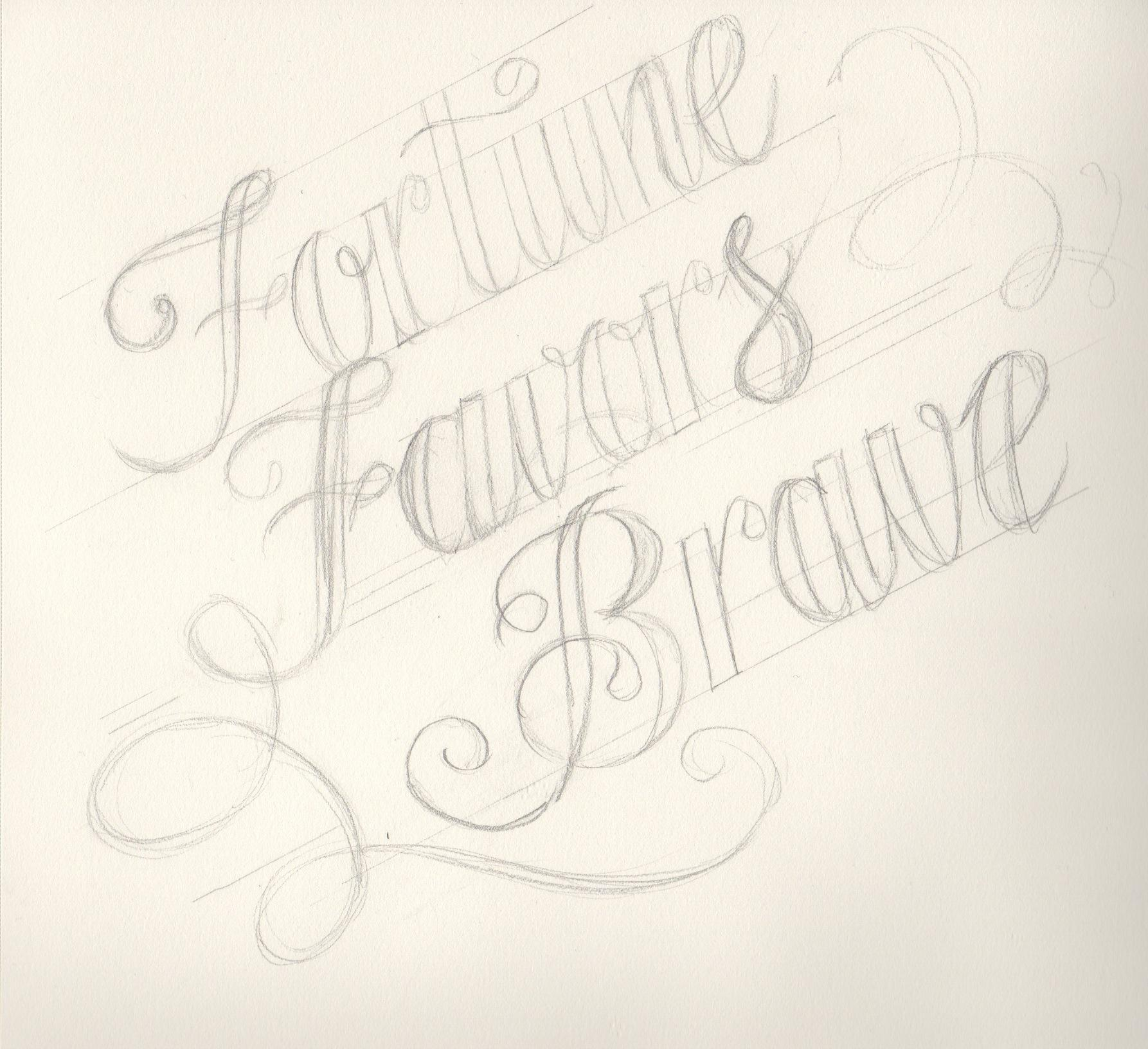 """Hand drawn initial sketch, """"Fortune Favors the Brave"""" - image 1 - student project"""