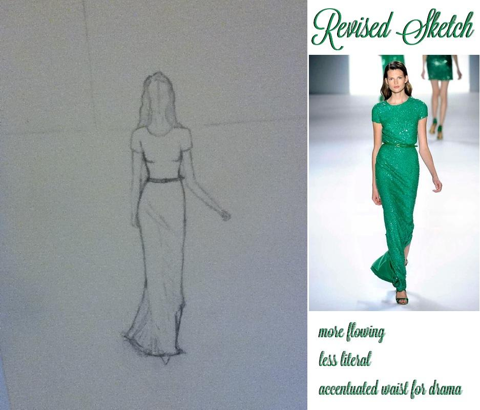 FINAL SKETCHES: Elie Saab Emerald Dress and Pink Floral Dress - image 3 - student project