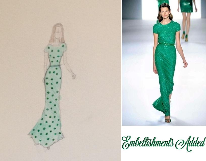 FINAL SKETCHES: Elie Saab Emerald Dress and Pink Floral Dress - image 6 - student project