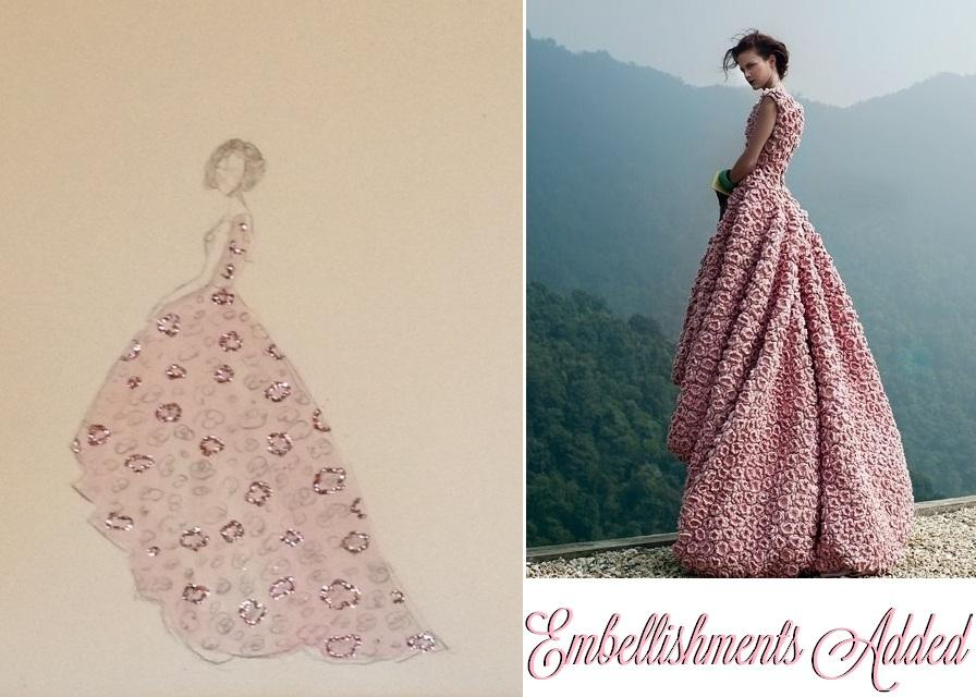 FINAL SKETCHES: Elie Saab Emerald Dress and Pink Floral Dress - image 7 - student project