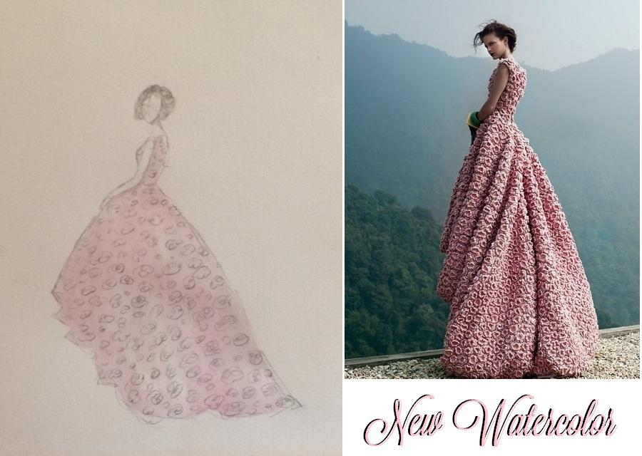 FINAL SKETCHES: Elie Saab Emerald Dress and Pink Floral Dress - image 5 - student project