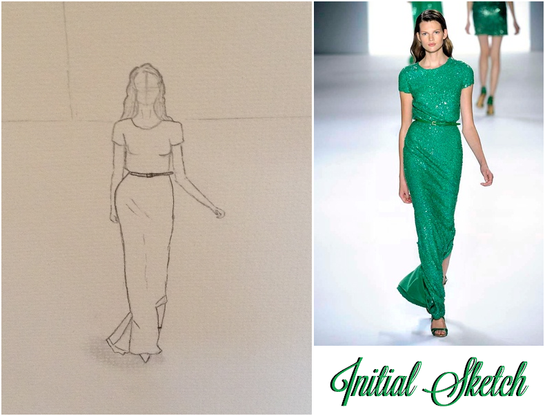 FINAL SKETCHES: Elie Saab Emerald Dress and Pink Floral Dress - image 2 - student project