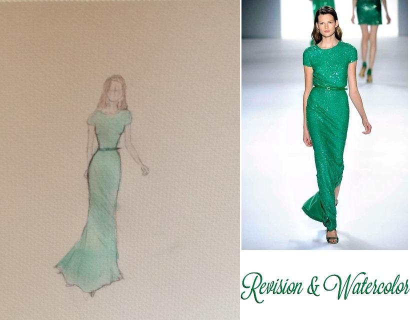 FINAL SKETCHES: Elie Saab Emerald Dress and Pink Floral Dress - image 4 - student project