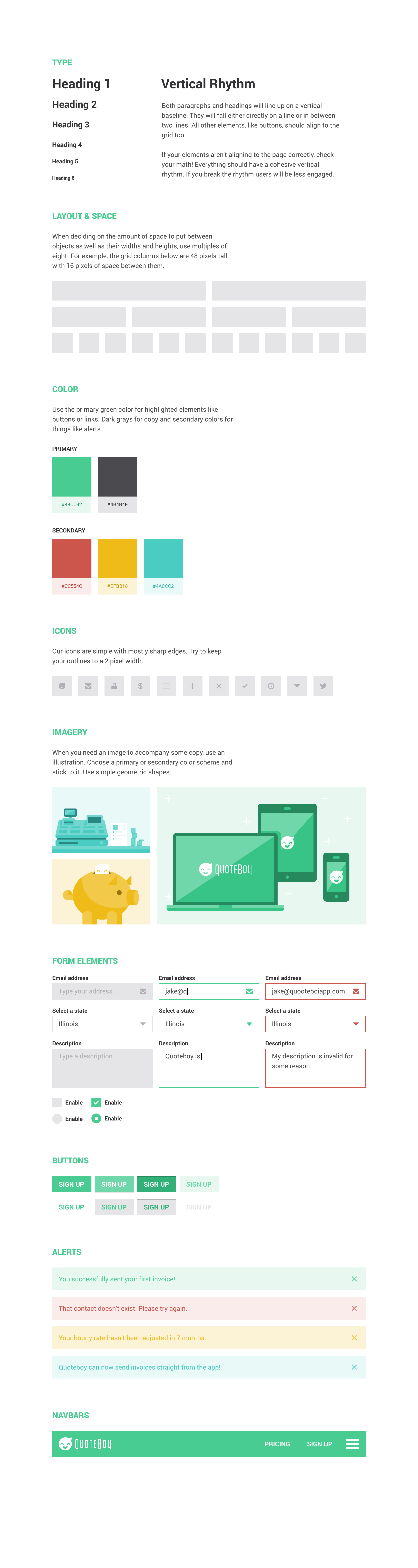 QuoteBoy Web Design Style Guide - image 2 - student project