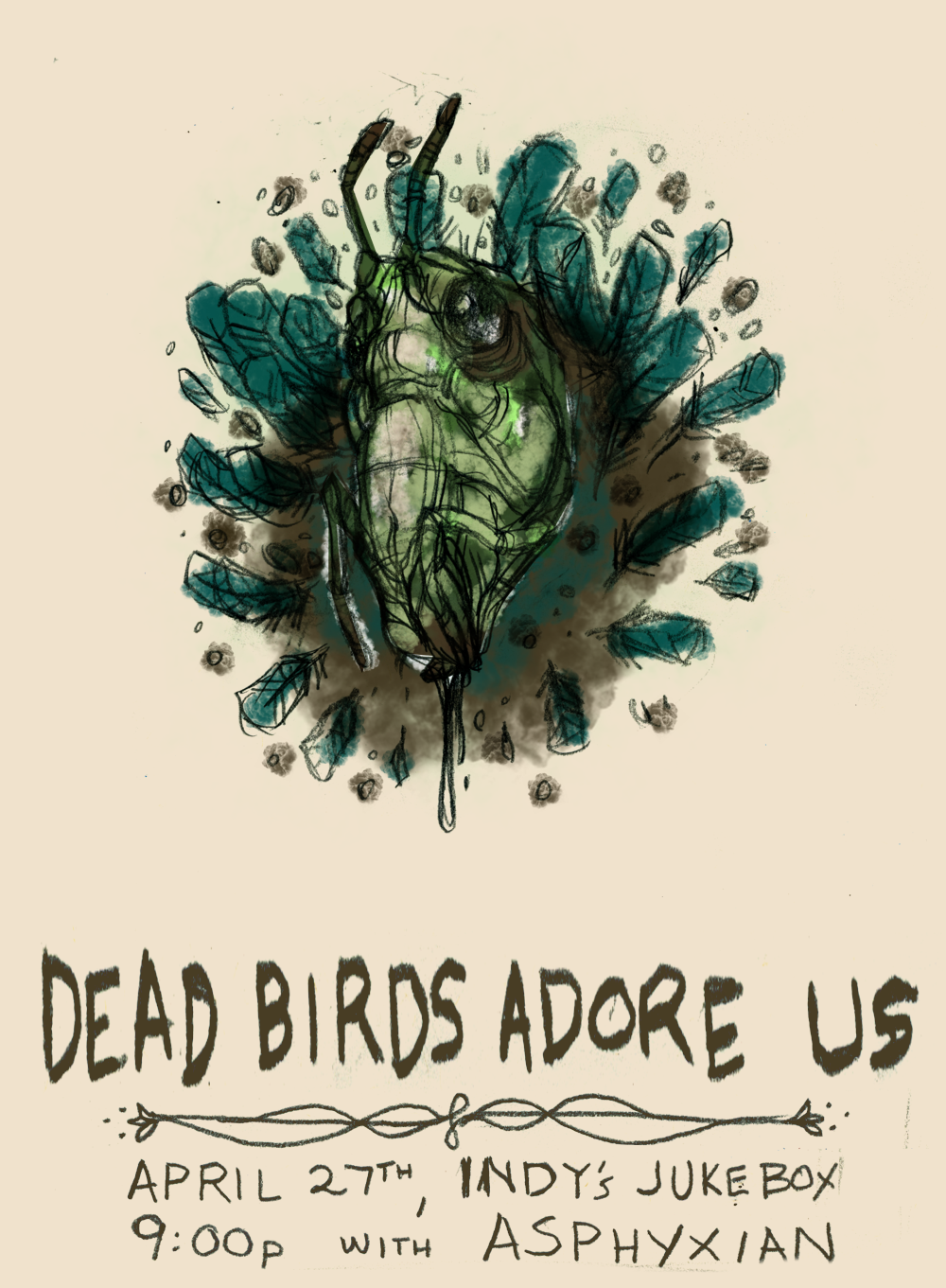 Dead Birds Adore Us - Grasshopper and Feathers - image 1 - student project