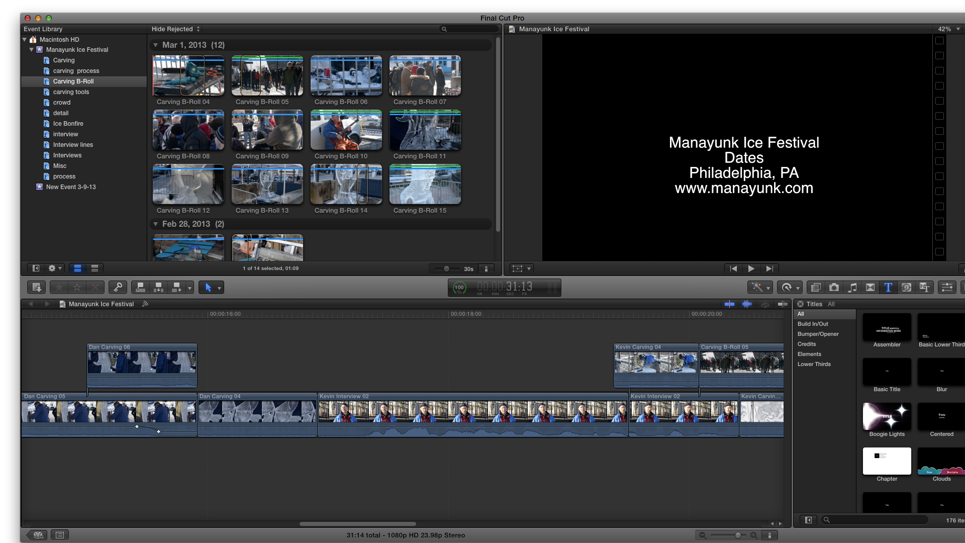 Second cut of Manayunk Ice Festival cut - MILESTONE - image 1 - student project
