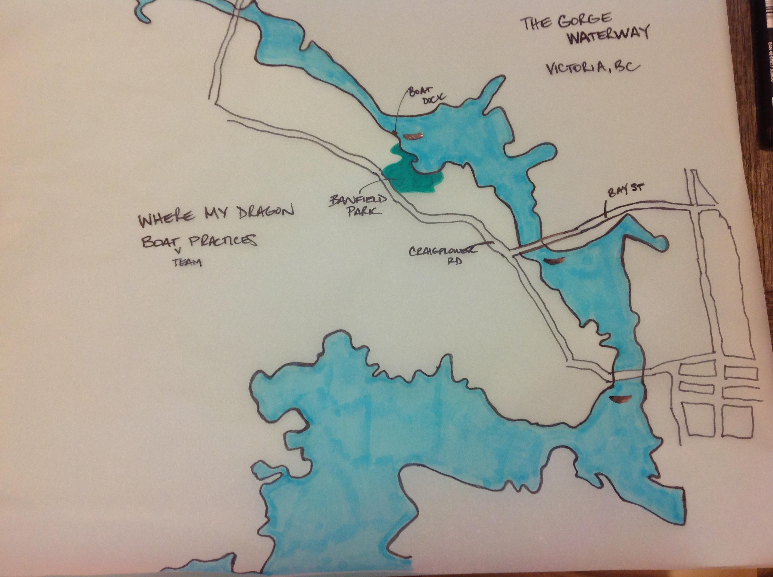 Map of Victoria's Gorge Waterway - Where my Dragon boat team practices - image 1 - student project