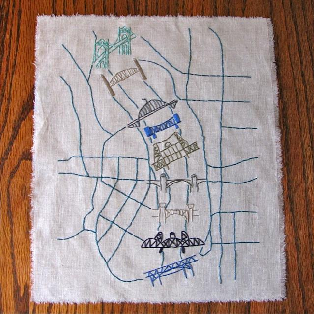 Embroidered Map of Portland, Oregon - image 1 - student project