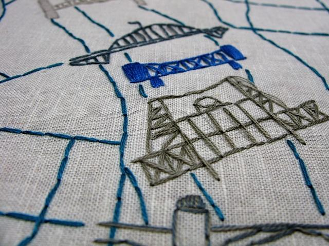 Embroidered Map of Portland, Oregon - image 2 - student project