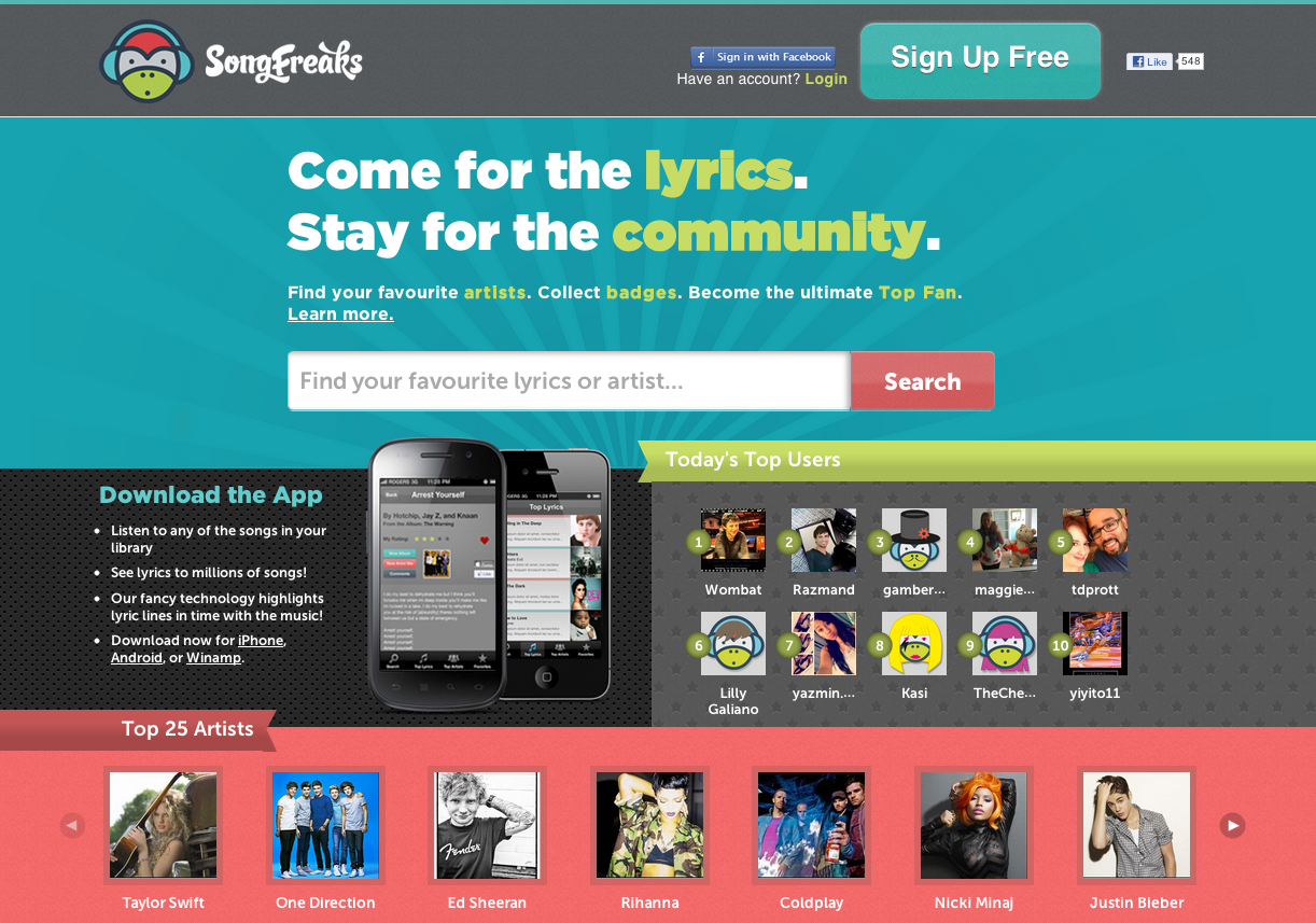 SongFreaks -- The perfect storm of lyrics, community and high quality music content - image 1 - student project