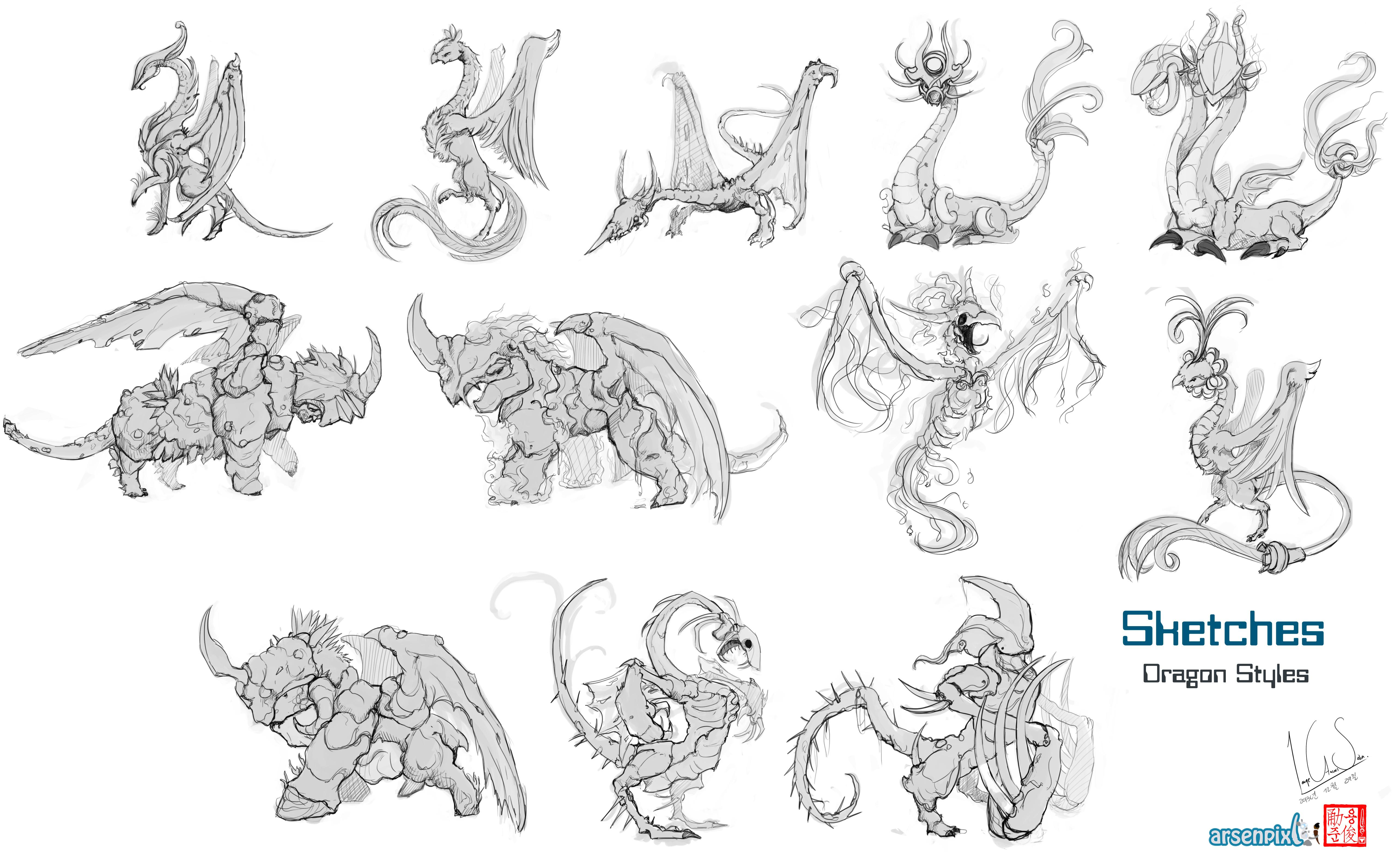 Concept Art: Dragon types - Colouring sketches  - image 3 - student project