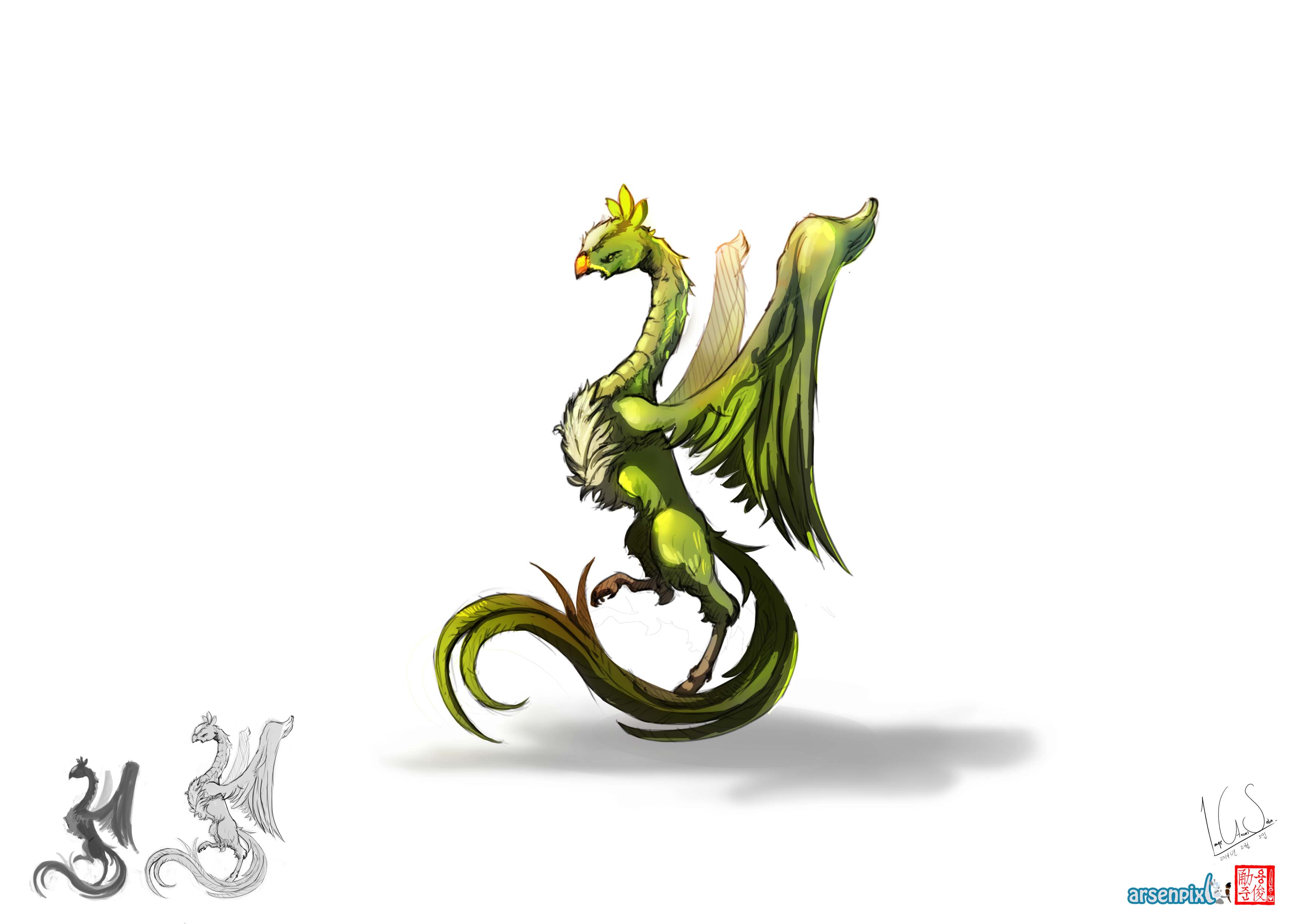 Concept Art: Dragon types - Colouring sketches  - image 1 - student project
