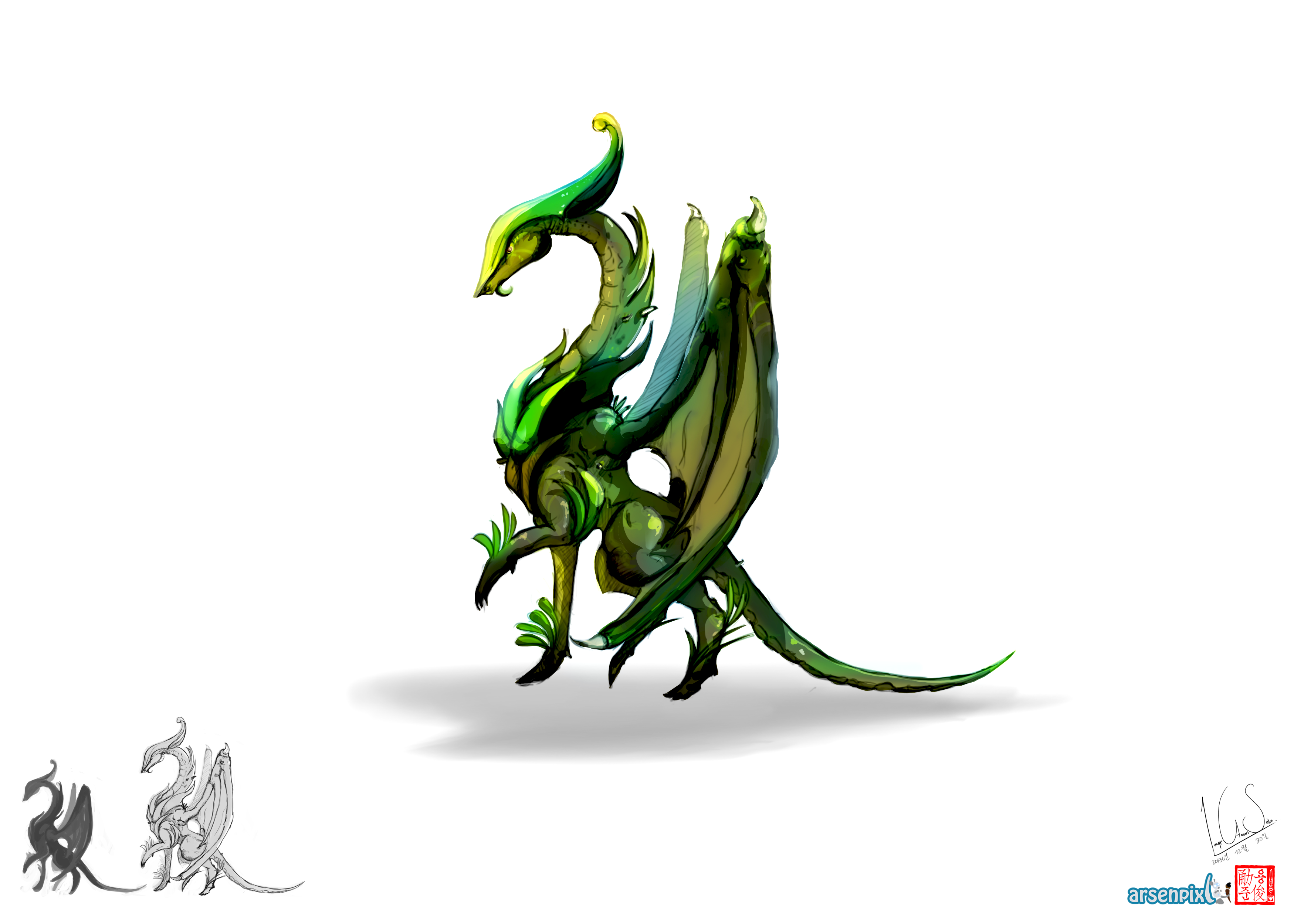 Concept Art: Dragon types - Colouring sketches  - image 2 - student project