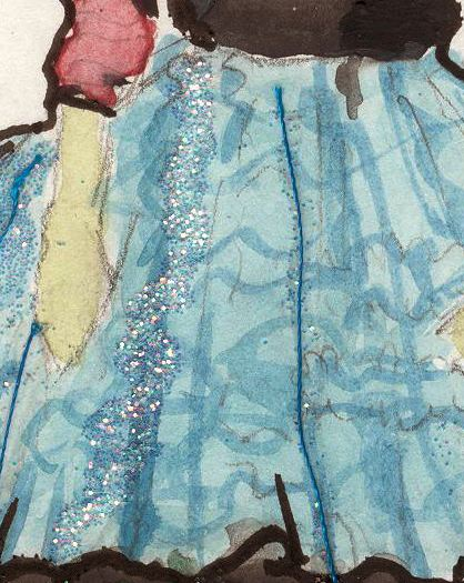 Updated Watercolor/ glitter/ thread and rhinestone...Sketch moss love turtle heroine  - image 1 - student project