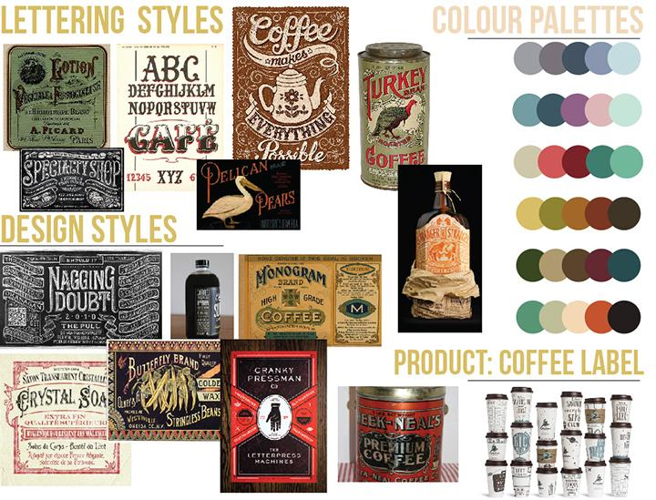 Modernly-Vintage Coffee Label - image 1 - student project