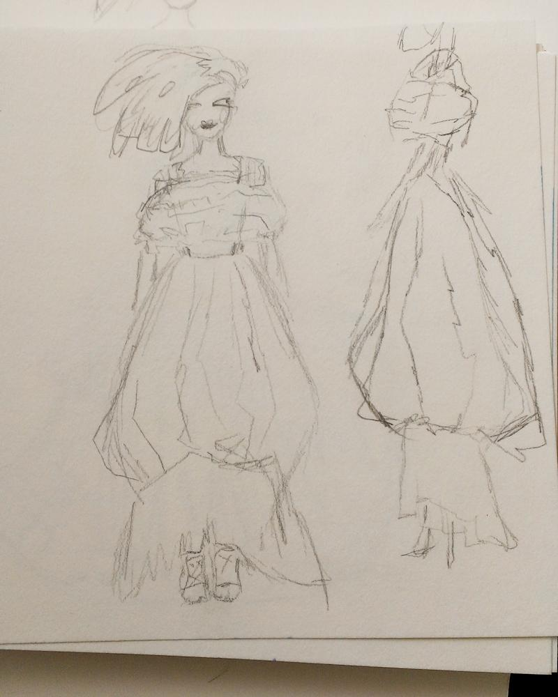 SKETCH - 3/18 - kooky pleats and volume and shapes - image 2 - student project