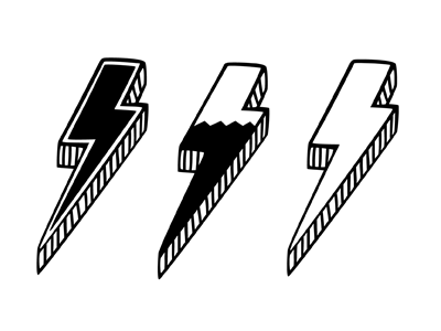 """Rudy Rude - """"R"""" logo lighting bolt separating single """"R"""" into two """"R""""'s.  -3d? Flat? - image 2 - student project"""