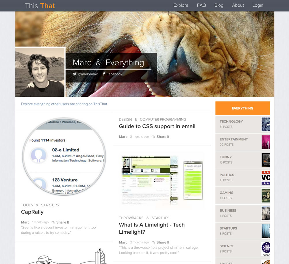 ThisThat - Reddit for blogging. - image 1 - student project